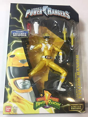 Mighty Morphin Power Rangers Legacy Collection Limited Edition 6.5 Inch Yellow Ranger with Metallic Finish and Exclusive Weapons