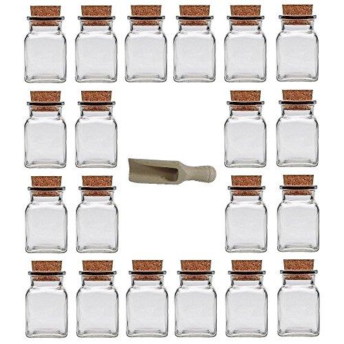 Viva Haushaltswaren - 20 x Gewürzglas eckig 150 ml, Glasdose mit Korkverschluss als Gewürzdose & Vorratsdose für Gewürze, Salz etc. verwendbar (inkl. kleiner Holzschaufel 7,5 cm)