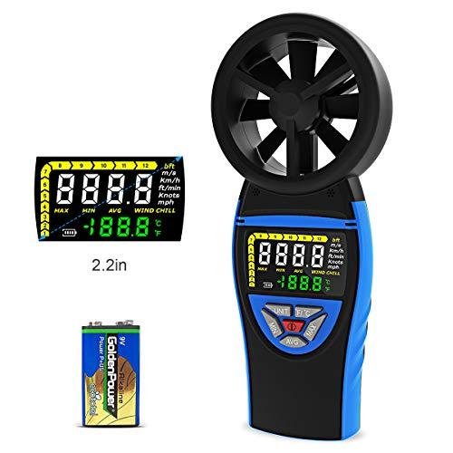 Windmesser Digital LCD Wind Speed Meter mit Farbbildschirm Windgeschwindigkeitsmesser zum Messen von Windgeschwindigkeit und -temperatur sowie Windkälte mit Hintergrundbeleuchtung