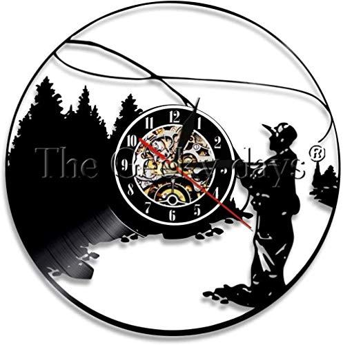 TIANZly Home DecorationSilent Schallplatte Wanduhr 1Piece Go FishingSilent Schallplatte Wanduhr Fishing Man Vintage KreativeWanduhrAngelhaken UhrFischer Geschenk