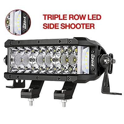 DJI 4X4 LED Light Bar, 7.5 Inch 102W Triple Row Side Shooter CREE LED Pods Off Road Spot Flood Combo Beam Waterproof Driving Fog Lights for Trucks Jeep ATV UTV SUV Pickup Boat, 2 Years Warranty