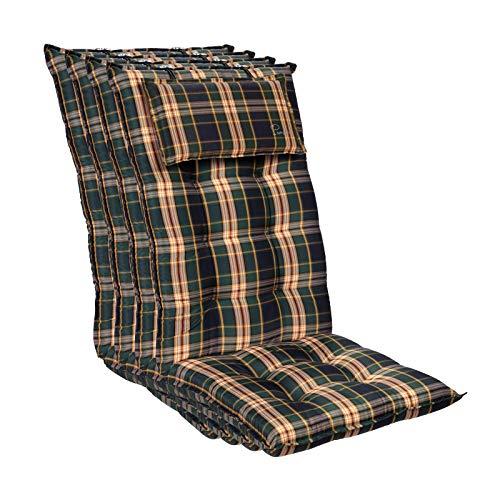 Homeoutfit24 Sylt - Cojín Acolchado para sillas de jardín, Hecho en Europa, Respaldo Alto con cojín de Cabeza extraíble, Resistente Rayos UV, Poliéster, 120 x 50 x 9 cm, 4 Unidades, Verde/Amarillo