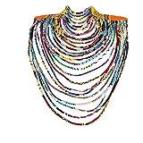 BAZINRICHE Women's Handmade Necklaces Ankara Kente Necklace Long Multi Strand African Wax Collar