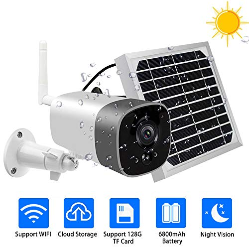 Telecamera di sicurezza wireless a energia solare, 1080P, con batteria ricaricabile, WiFi, rilevatore di movimento, audio a 2 vie, scheda SD da 32 G, per telefoni iOS/Android