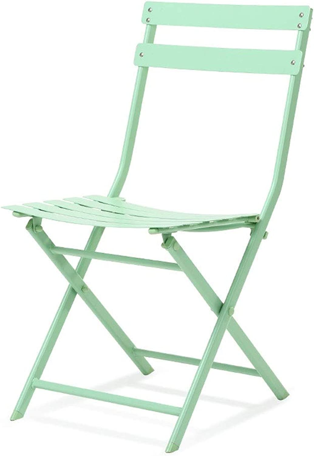 Sleek Minimalist Wrought Iron Folding Dining Chair European Balcony Leisure Chair Iron Metal Chair (color   Green)