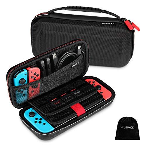 Arvok Tasche für Nintendo Switch, Tragetasche/Aufbewahrungstasche /Hülle/Schutzhülle mit Aufbewahrung von 19 Spiele für Joy-Con, Ladegerät, Switch Konsole und anderes Nintendo Switch Zubehör