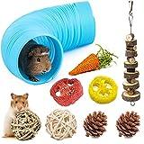 X-zoo Juguetes de hámster, 9 piezas juguetes para animales pequeños, túnel de hámster y hámster de madera, molar para hámsteres enanos, cobayas, jerbos, ratas, chinchilla, hámster sirio