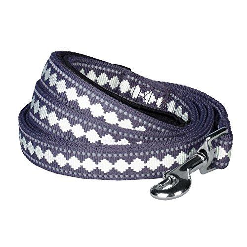 Blueberry Pet Leinen für Hunde 1,5 cm by 150 cm Länge 3M Reflektierende Jacquard Hundeleine in Lila-Grau mit Neopren Gepolsterter Schlaufe, S