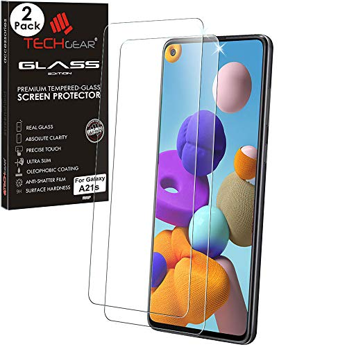 TECHGEAR - Juego de 2 protectores de pantalla de cristal templado para Samsung Galaxy A21s, dureza 9H, resistente a los arañazos, sin burbujas