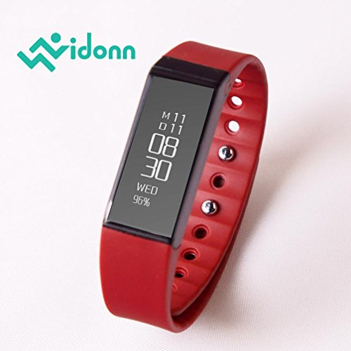VIDONN Smart Bracelet X6S (Color: Rot) IP65 Water Resistant Activity Trackers with OLED Touch Screen, Bluetooth 4.0 Pedometer, Wristband, Sleep Monitor, Call/MSM Reminder for Android/iOS Smartphone