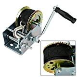 3200lbs Hand Crank Winch with Hook Polyester 33ft Black Webbed Strap 2 Gear ATV Boat Trailer