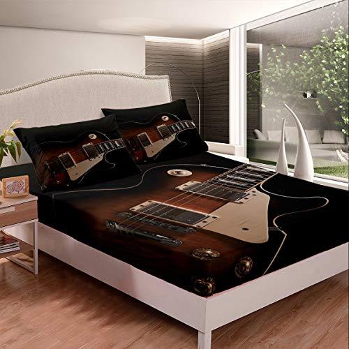 Juego de cama de guitarra con diseño musical para guitarra, juego de sábanas para niños, niños, niñas, instrumentos de guitarra impresos, funda de cama de microfibra, tamaño doble