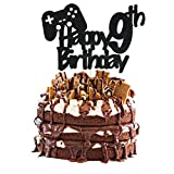 Video Game Cake Topper, Glittery Happy 9th Birthday Video Gaming Cake Toppers for 9 Year Old Boy and...