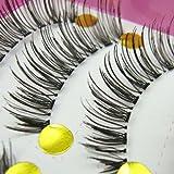 HongHong 10 Pairs Long Thick False Eyelashes Natural Looking Black Fake Lashes Extension for Makeup Cosmetic Cosplay Stage