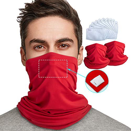 Neck Gaiter with Safety Filters Protection 2 Pack,Reusable Face Scarf Mask,Face Cover, Multi-Purpose Bandanas Balaclava UV Proof for Hiking, Running, Cycling,Outdoors Sports,12PCS (Red, 12)