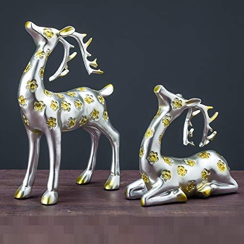 QMZZN Escultura De Decoración del Hogar Estatua Escultura Decoración De La Estatua Decoración De Ciervos Decoración De Muebles para El Hogar Sala De Estar Recién Casados Regalo De Boda Gabinete