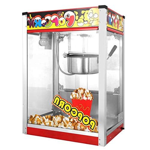 New JACKBAGGIO New Popcorn Maker Machine-Electric Commercial Popcorn Popper w/Glass Door Lighting Sy...