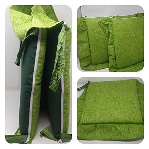 Alfionapoli Set 6 Cuscini Tinta Unita, con Volant 40x40 Spessore 5 cm, Copri Sedia Cucina, Marca (Verde)
