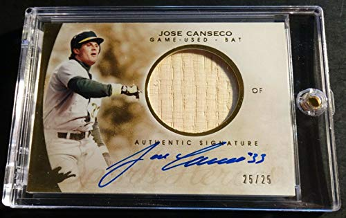 2014 JOSE CANSECO LEAF SPORTS HERO GAME USED BAT ON CARD AUTO AM-JC2 25/25 (841)