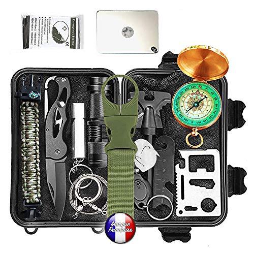 Overlevelsessett, overlevelsessett, redningshjelps profesjonelt overlevelsessett 19 i 1. Det beste utstyret for forsvar og angrep for camping etc.