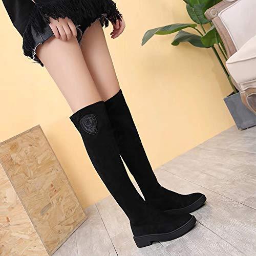 Shukun enkellaarzen herfst en winter laaghakkige knielaarzen vrouwelijke ronde kop slank afneembaar elastische laarzen plat met zwarte vrouwenlaarzen