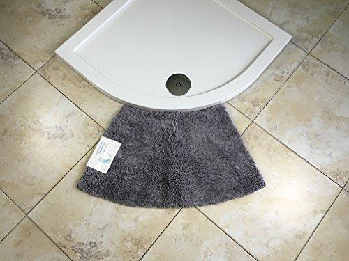 Cazsplash Viertelkreis Kleiner geschwungener Dusche Matte, Mikrofaser, Grau, 77x 45x 2,5cm