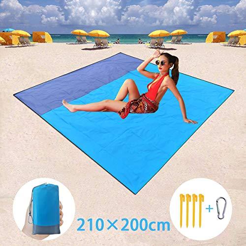 BETECK Alfombras de Playa, 210x200CM Manta de Picnic Impermeable con 4 Estaca Fijo para Jardín Parque Piscina Acampada Viaje al Aire Libre (Azul)