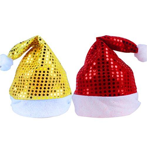 Cappello di Natale, Outgeek 2 Pack Cappello Santa Cappello Sparkly Cappellino Xmas Dress up Accessori per Adulti