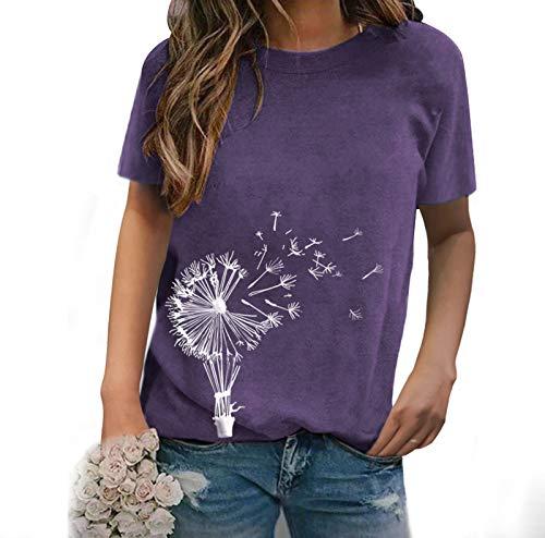 SLYZ Primavera Y Verano para Mujer, Nueva Camiseta Estampada con Cuello Redondo, Manga Corta, Casual, Suelta, para Mujer