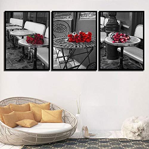 SJYHNB Wall Art Rosa rossa in tavola Pittura di Arte della Parete La Stampa su Tela di Canapa Quadri d'illustrazione per Domestico Decorazione Moderna 40 x 60 cm x 3 Pannelli (con Cornice)