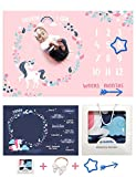 Baby Monthly Milestone Blanket Girl | Markers and Headband Included | Gift-Ready Box | Premium Ultra Soft Warm Minky Fleece | Large 40X60 Thick Newborn Photography Props Backdrop |Shower Gifts-Idea