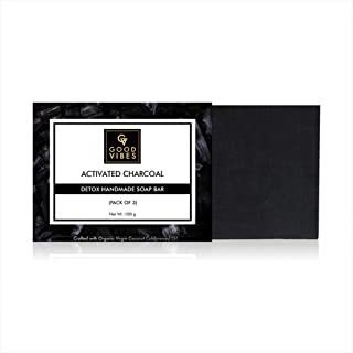 Good Vibes Activated Charcoal Detox Handmade Soap Bar (Pack of 3) - 100g x 3