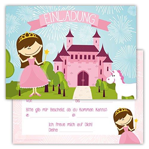 Einladungskarten für Kindergeburtstage für Jungen oder Mädchen (Schloss mit Prinzessin und Einhorn, 12 Stück im Kartenset)