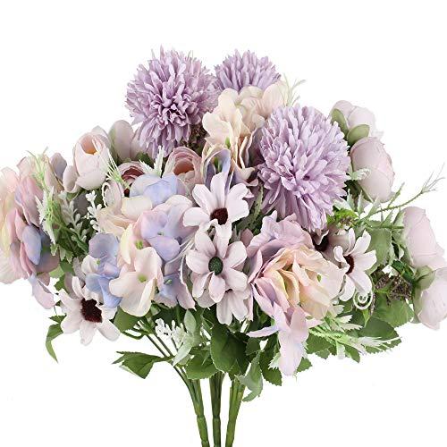 XHXSTORE 3 PCS Bouquet Fiori Artificiali in Ortensie Rose Bouquet Fiori Finti da Interno Esterno Mazzi Fiori Artificiali per Matrimoni Casa Ufficio