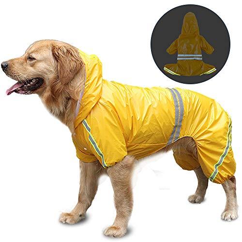FREESOO Chubasqueros Impermeables para Mascotas Perros con Capucha para Perro Mediano y Grande con Collar Agujero Tiras Reflectoras Transpirable Impermeable Chaqueta para Lluvia