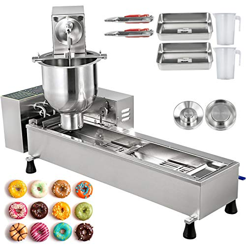 VBENLEM 110V Commercial Automatic Making Machine, Single Row Auto Doughnut Maker 7L Hopper, Donuts Fryer with 3 Sizes Molds, 304 Stainless Steel, 1, Silver