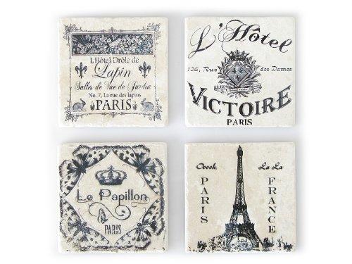 4 Stück Shabby Vintage Glasuntersetzer Paris Untersetzer aus Marmor Antik Frankreich Wein