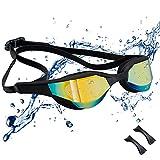 JINPXI Gafas de Natación Antiniebla,Gafas para Nadar Protección UV,Gran Angulo de Visión, Lentes HD Silicona Ajustables para Mujer, Hombre, Adultos y niños 13+
