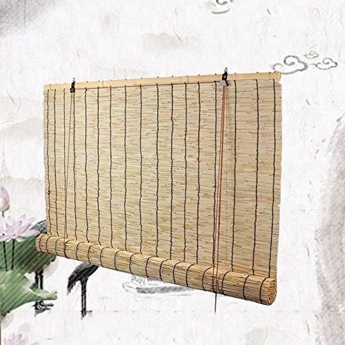 HOMRanger Rollo mit Schilfrohr, wasserdicht, atmungsaktiv, Bambus, dekorativer Vorhang, Schilf, natur, W120xH200cm(47x79inch)