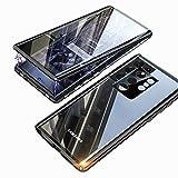 Funda para Samsung S21 Ultra 5G Magnética Carcasa,Funda Protectora de Cuerpo Completo 360° Cristal Templado Cover con Protector de Pantalla,Antigolpes Metal Bumper Case para Galaxy S21 Ultra-Negro