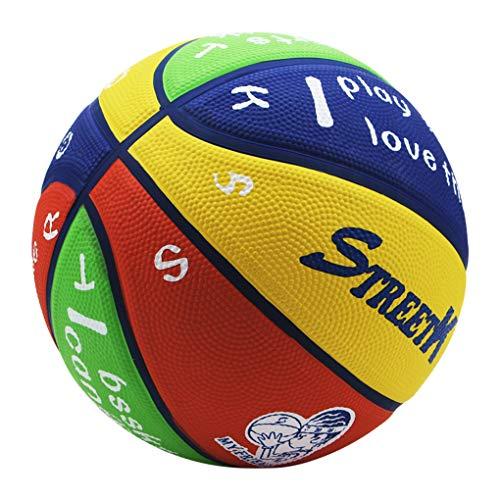 Moonlove Pelota de baloncesto para niños de 4 a 12 años, de goma, tamaño 5, para el jardín de infancia, escuela primaria, para niños de 4 a 12 años, multicolor