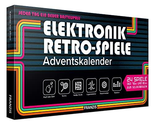 FRANZIS 67150 - Elektronik Retro-Spiele Adventskalender 2020, 24 Spiele der 70er und 80er zum Selberbauen ohne Löten, jeden Tag ein neuer Bastelspaß, für Kinder ab 14 Jahren