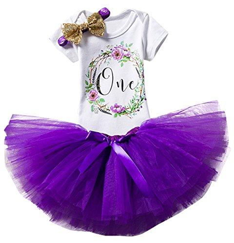 TTYAOVO Bebé Niña 1er cumpleaños 3pcs Conjuntos con Diadema de Unicornio y Mameluco y Faldas 1 año 05 Púrpura