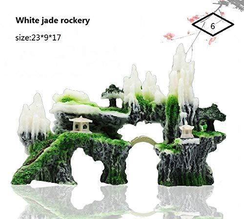 XIAOYY Freshwater Aquarium Decoration,Fish Tank Landscape Design, Rockery with Plants.@6