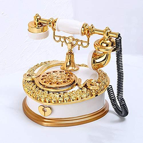 GERUOLA Teléfono Retro Vintage,Cable Teléfono Antiguos,Hogar Teléfono Fijo,Teléfono De Diseño Antiguo Elegante,Década De 1920 Hogar Accesorio Fijo Ornamento,como Decoración,Blanco