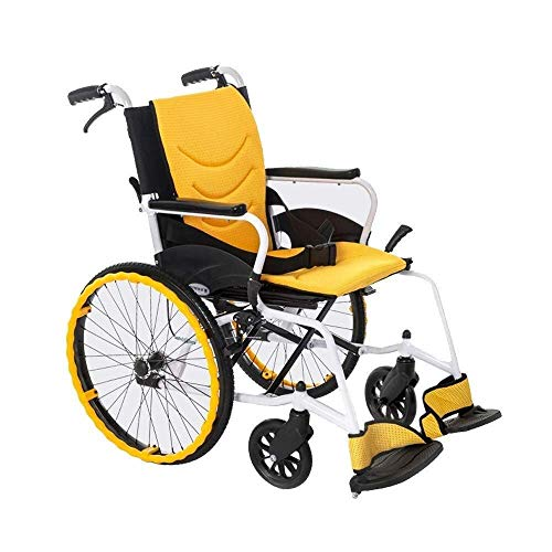 AOLI Wheelchair Aluminum Alloy, Light Small Fold in Seconds Trolley Scooter Old Man Disabled Manual Travel