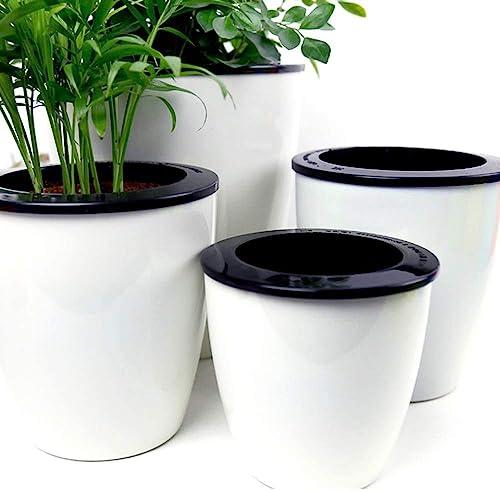 Mkono-3-Pack-Self-Watering-Planter-African-Violet-Pots-Plastic-White-Flower-Plant-Pot