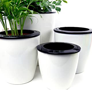 Mkono 3 Pack Self Watering Planter African Violet Pots Plastic White Flower Plant Pot with Wick Rope for All House Plants, Flowers, Herbs, Medium