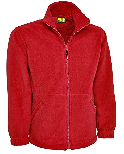 MIG Mud Ice Gravel Mens Classic Fleece Jacket Coat Sizes XS to 4XL Work Leisure Sports Casual 5XL XXXXXL Red