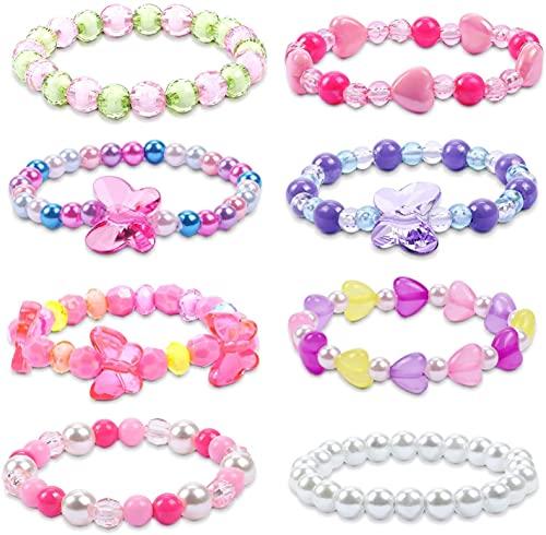 Vamei 8 Piezas Pulseras Niña Mariposa Pulsera Cristal Cuentas de Colores Pulseras de la Amistad Princesa Joyas Regalo Cumpleaños para Niñas